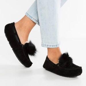 UGG Women's Dakota Pom Pom Moccasin Slippers Black